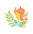 cute little orange nesting bird symbol of spring vector image vector image