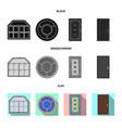 design of door and front symbol set of vector image
