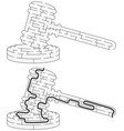 easy gavel maze vector image vector image