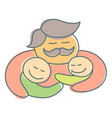 father with mustache hug children at fathers day vector image