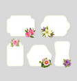 Flower frames card templates with blooming flowers