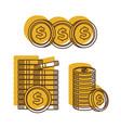 golden dollars set american currency us dollars vector image