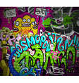 Graffiti wall urban art background vector image vector image
