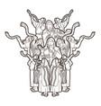 group jewish blowing shofar horn vector image vector image