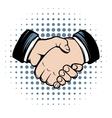 Handshake comics icon vector image vector image