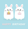 happy birthday white bunny rabbit holding gift vector image