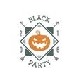 Happy Halloween 2016 black party invitation label vector image