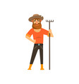 happy male farmer character with rake cheerful vector image vector image