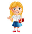 happy school little girl cartoon character vector image
