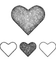 Heart icon set - sketch line art vector image vector image