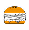 isolated fast food hamburger icon vector image vector image