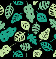 leaves seamless pattern green on a black vector image vector image