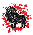 lion standing side view graphic vector image vector image