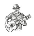 man playing guitar country music in sketch vector image