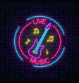 neon sign of bar with live music on a brick wall vector image vector image