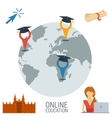 Online education concept with four icons vector image vector image