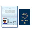 opened international passport template with blue vector image vector image