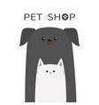 pet shop icon dog cat animal red tongue happy vector image