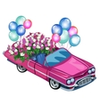 Pink cabriolet with bouquet flowers and balloons vector image vector image