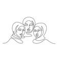 portrait three pretty muslim women one line vector image vector image