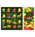 price banners tropical exotic fruits vector image vector image