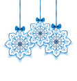Set Christmas paper snowflakes with bow isolated o vector image vector image
