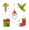 set colored christmas icons in thin line style vector image vector image