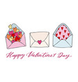 set of three doodle drawing love letter with vector image vector image