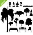 silhouette tree and garden vector image vector image