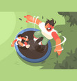 two guys jumping on trampoline vector image vector image