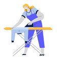 woman ironing clothes iron and board housework vector image