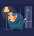 woman reading book in dark female character vector image vector image