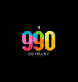 990 number grunge color rainbow numeral digit logo vector image vector image