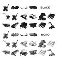 agricultural machinery black icons in set vector image