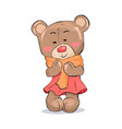 bear toy female character in pink dress warm scarf vector image vector image