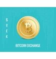 bitcoin exchange icon on digital blue vector image vector image