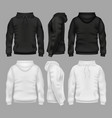 black and white blank sweatshirt hoodie vector image vector image