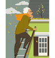 Cleaning a rain gutter vector image