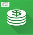 coins stack icon in flat style dollar coin with vector image vector image