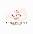 cupcake watercolor logo design on white background vector image