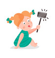 cute cartoon redhead girl making selfie with a vector image vector image