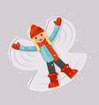 cute girl making snow angel childhood game lying vector image vector image