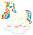 cute unicorn standing on cloud vector image vector image