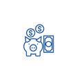 deposit insurancepig with money line icon concept vector image