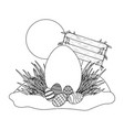 easter egg with wooden sign vector image