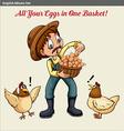 English idiom showing a farmer holding a baske of