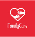 family care logo design template icon of kindness vector image vector image