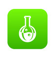 flask icon green vector image vector image