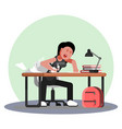girl hard working and studing vector image
