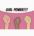 Girl power - pop art background with three raised